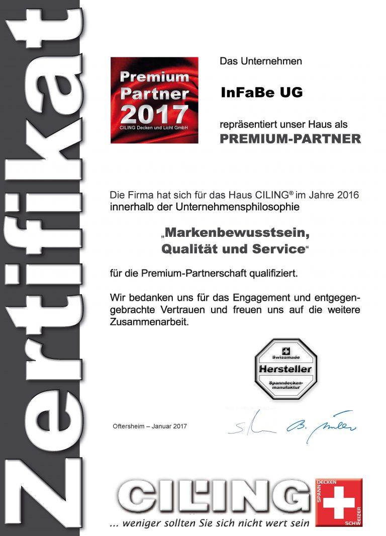 Zertifikat CILING Premium-Partner 2017 Infabe